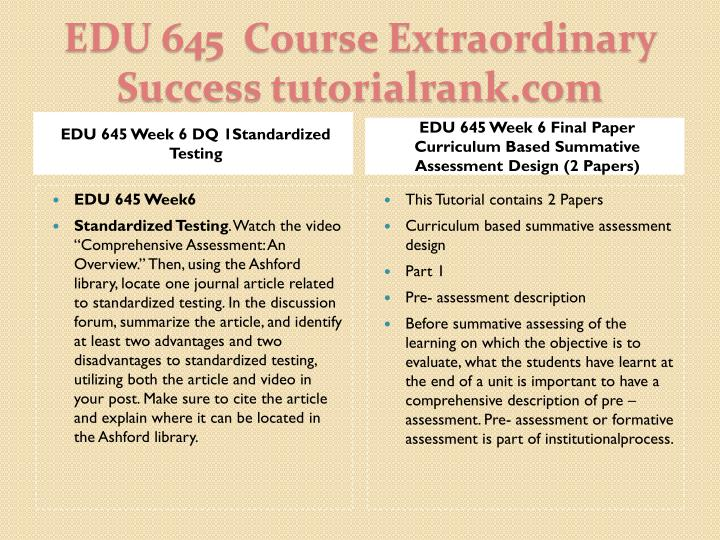 EDU 645 Week 6 DQ 1Standardized Testing
