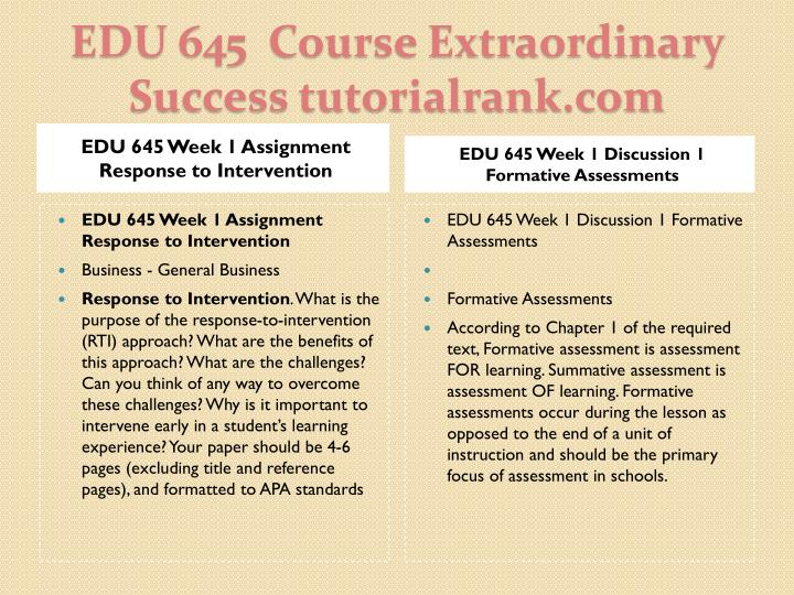 EDU 645 Week 1 Assignment Response to Intervention