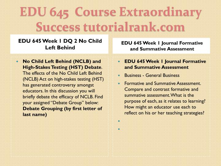 EDU 645 Week 1 DQ 2 No Child Left Behind