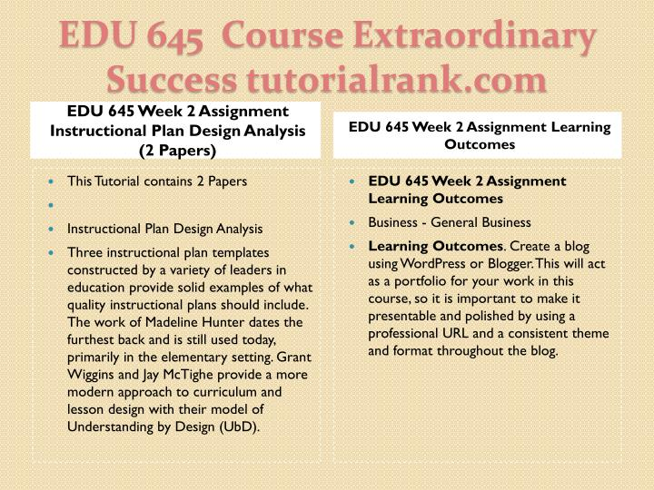 EDU 645 Week 2 Assignment Instructional Plan Design Analysis (2 Papers)