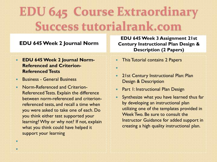 EDU 645 Week 2 Journal Norm