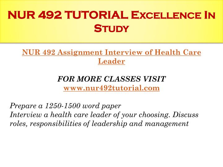 Nur 492 tutorial excellence in study