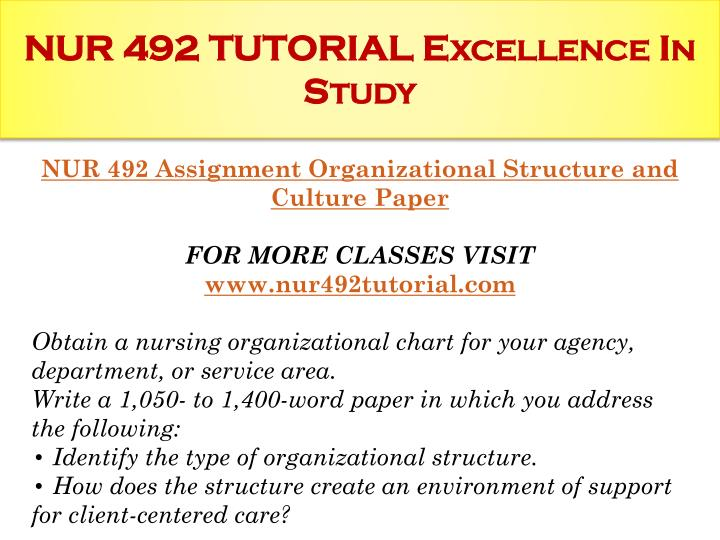 Nur 492 tutorial excellence in study1