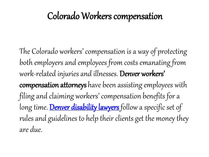 Colorado Workers compensation