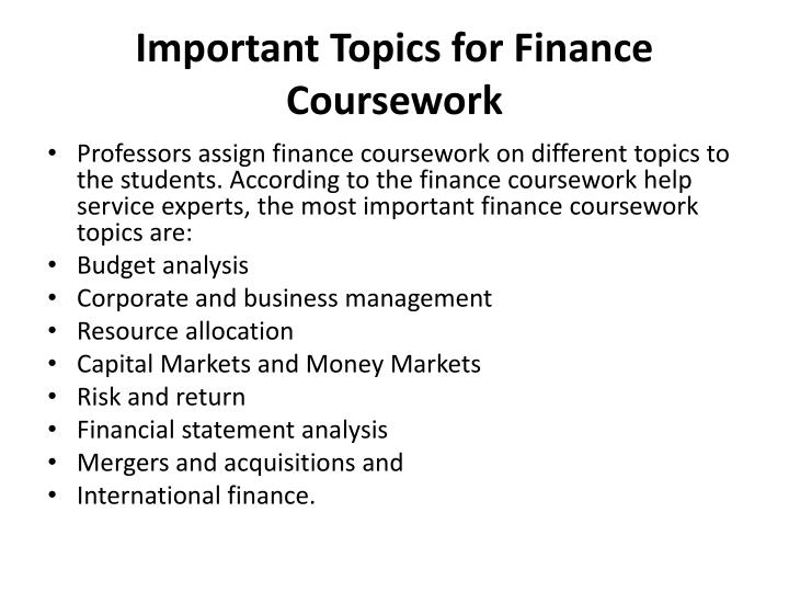 Finance coursework help