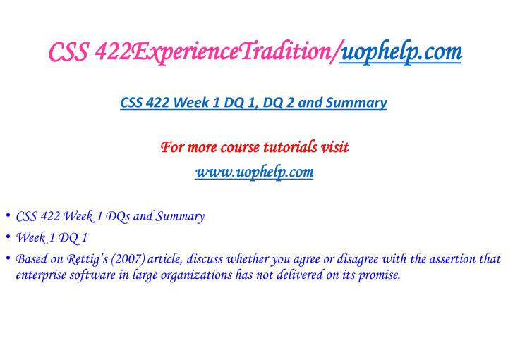 CSS 422ExperienceTradition/