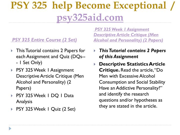 Psy 325 help become exceptional psy325aid com1