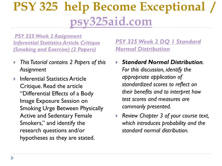 PSY 325  help Become Exceptional  /