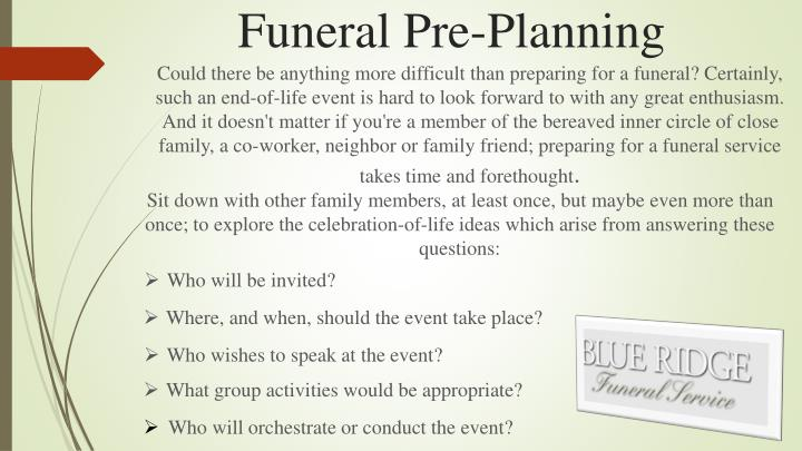Funeral pre planning form