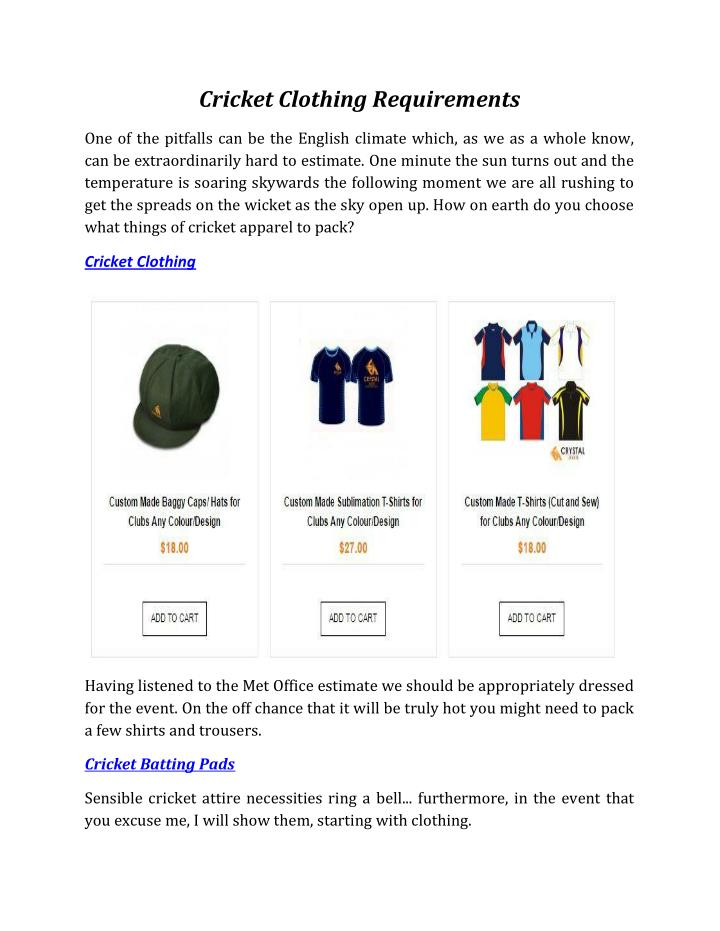Cricket Clothing Requirements