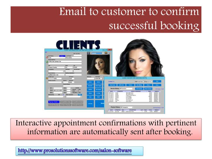 Email to customer to confirm successful booking
