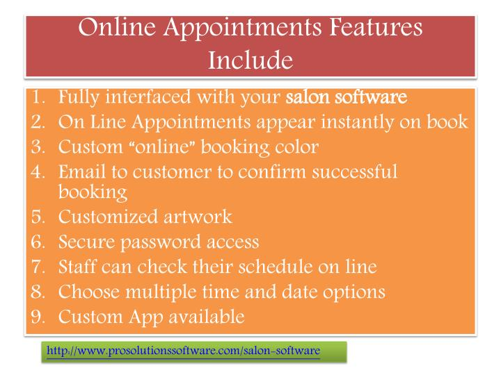 Online appointments features include