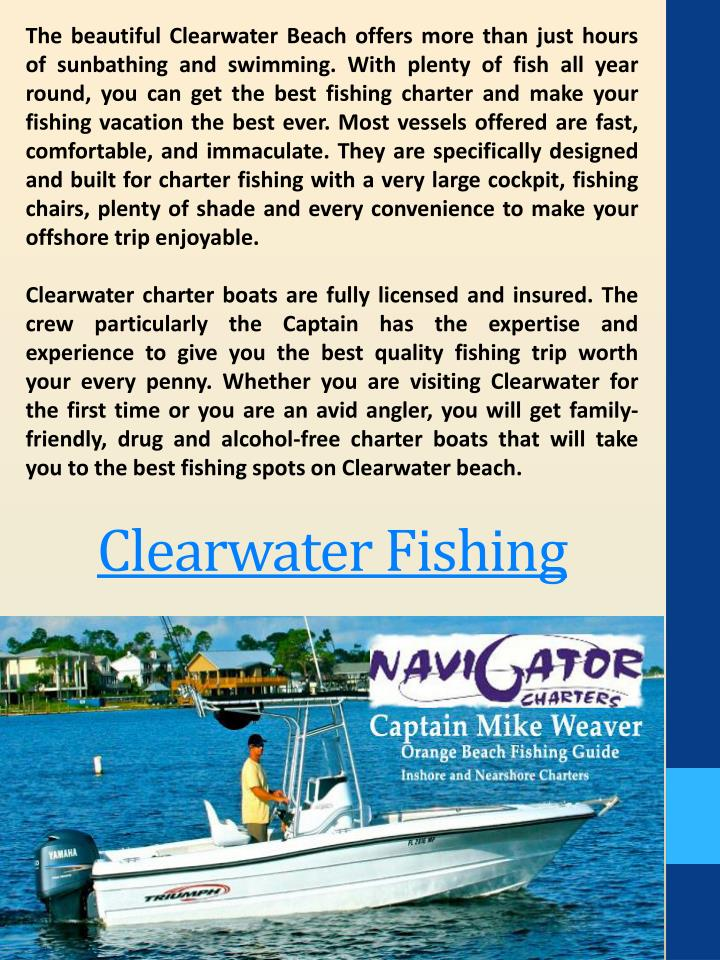 The beautiful Clearwater Beach offers more than just hours of sunbathing and swimming. With plenty of fish all year round, you can get the best fishing charter and make your fishing vacation the best ever. Most vessels offered are fast, comfortable, and immaculate. They are specifically designed and built for charter fishing with a very large cockpit, fishing chairs, plenty of shade and every convenience to make your offshore trip enjoyable.