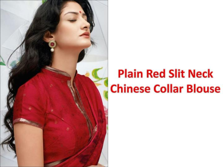 Plain Red Slit Neck Chinese Collar