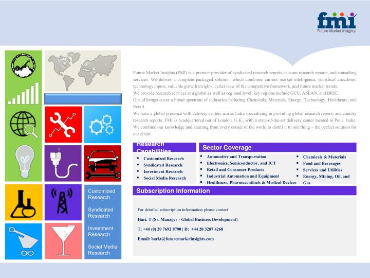 FutureMarket Insights (FMI) is apremier provider of syndicated research reports, custom research reports, andconsulting
