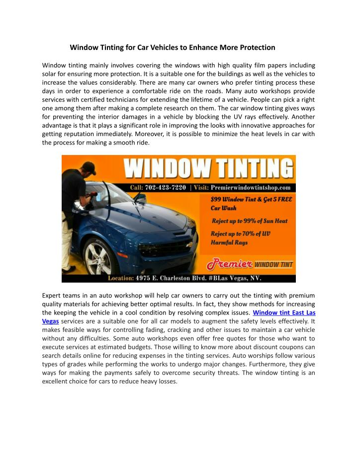 Window Tinting for Car Vehicles to Enhance More Protection