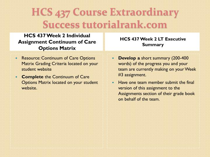 HCS 437 Week 2 Individual Assignment Continuum of Care Options Matrix