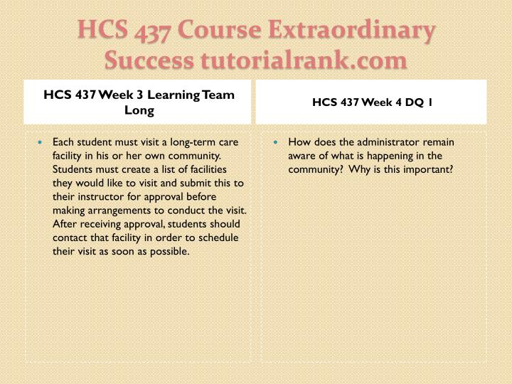 HCS 437 Week 3 Learning Team Long