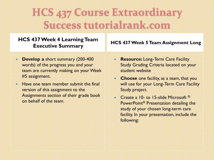 HCS 437 Week 4 Learning Team Executive Summary