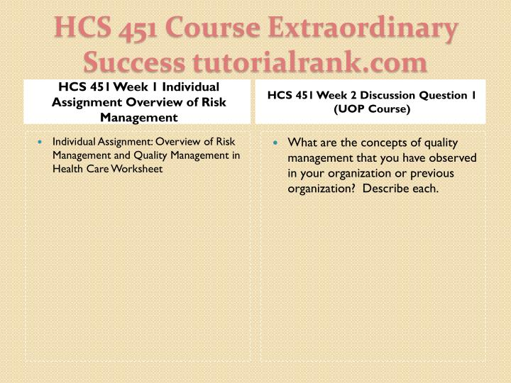 hcs week 3 individual powerpoint Hcs powerpoint ppt presentations all  3 discussion question 1 hcs 451 week 3 discussion question 2 hcs 451 week 3 individual assignment quality management .