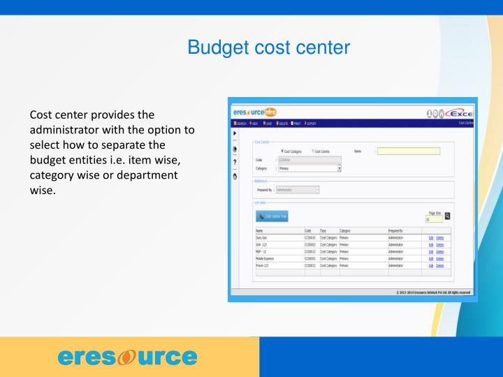 Budget cost center