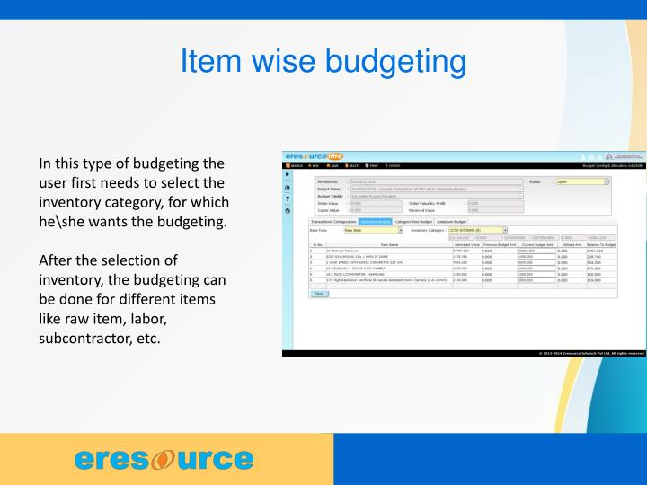 Item wise budgeting