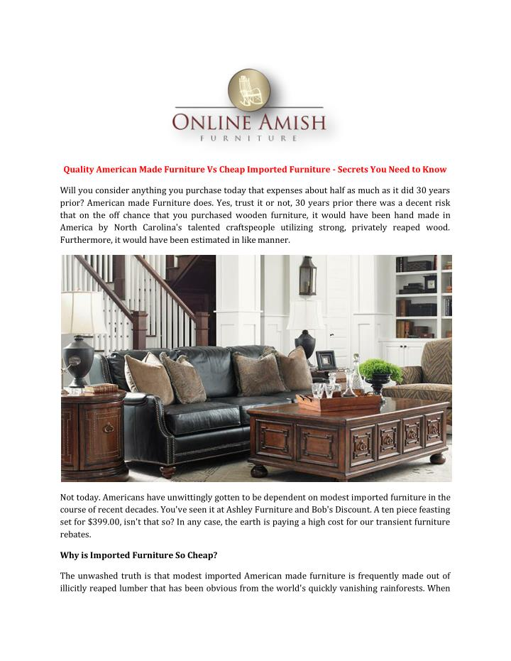 Ppt quality american made furniture vs cheap imported for Vs furniture america