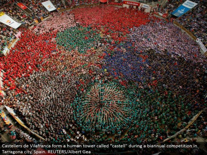 "Castellers de Vilafranca structure a human tower called ""castell"" amid a semiannual rivalry in Tarragona city, Spain. REUTERS/Albert Gea"