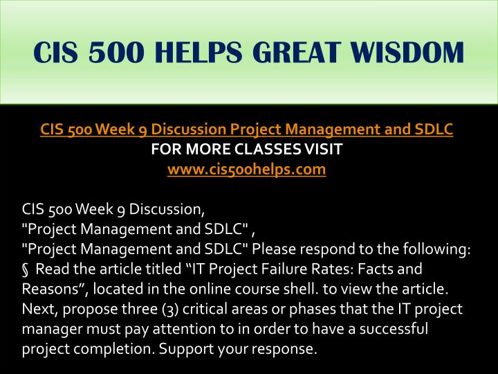 CIS 500 HELPS GREAT WISDOM