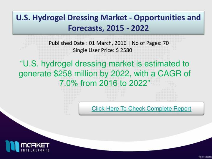 U.S. Hydrogel Dressing Market - Opportunities and Forecasts, 2015 - 2022