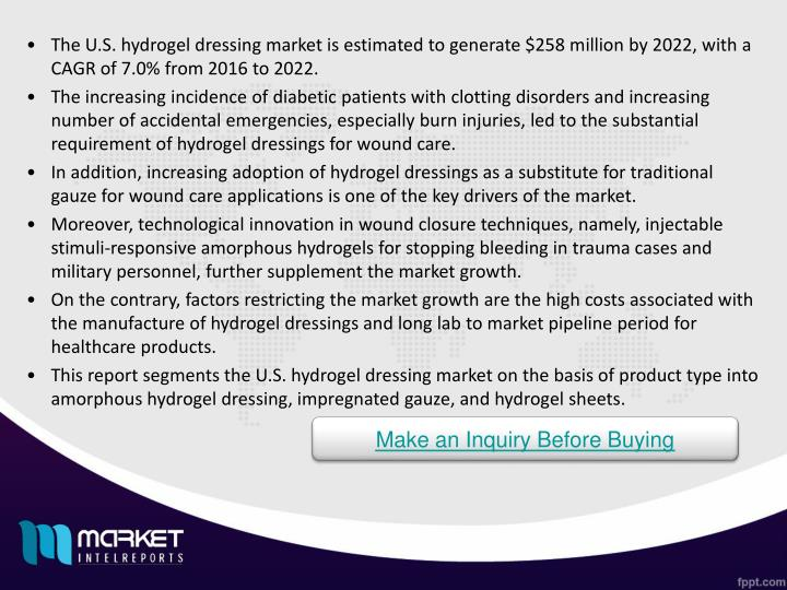 The U.S. hydrogel dressing market is estimated to generate $258 million by 2022, with a CAGR of 7.0% from 2016 to 2022.