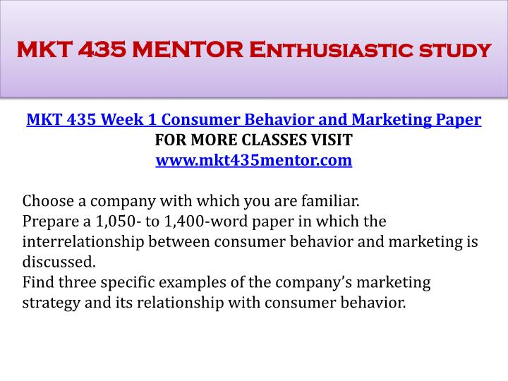consumer behavior paper mkt 435