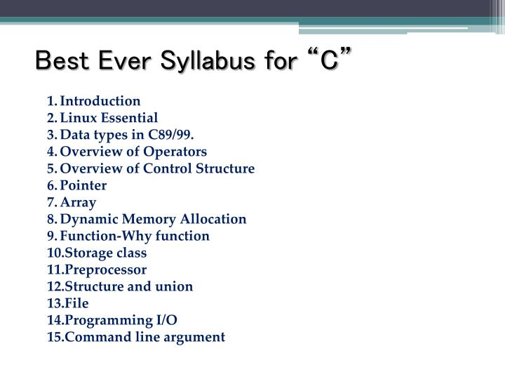 """Best Ever Syllabus for """"C"""""""