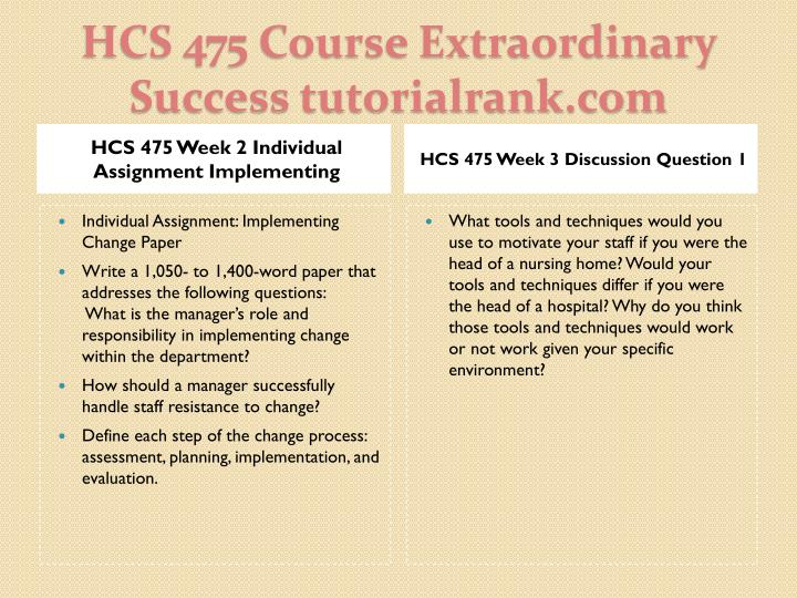 hcs 475 week 2 implementing change View homework help - hcs 475 week 2 individual assignment implementing change paperdocx from hcs 475 at ashford university implementing change name: hcs/475 date: implementing change implementing.