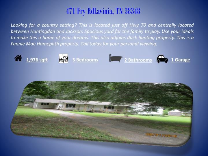 471 Fry RdLavinia, TN 38348