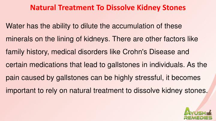 Natural Treatment To Dissolve Kidney Stones