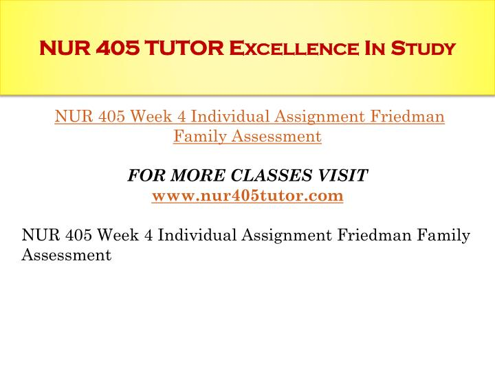 NUR 405 TUTOR Excellence In Study