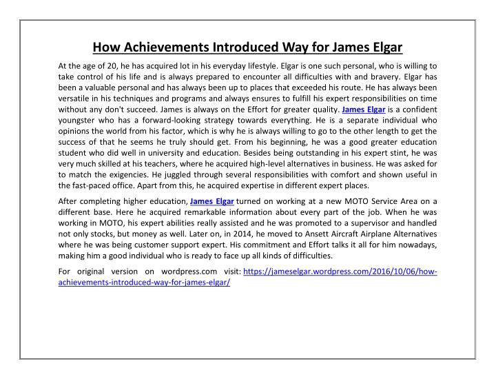 How Achievements Introduced Way for James Elgar
