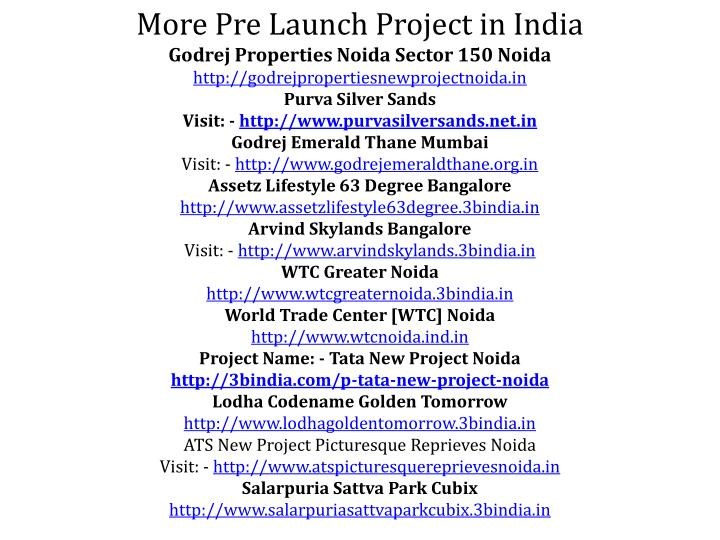 More Pre Launch Project in India