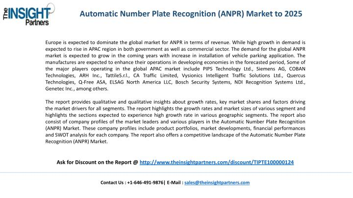 Automatic Number Plate Recognition (ANPR) Market to 2025
