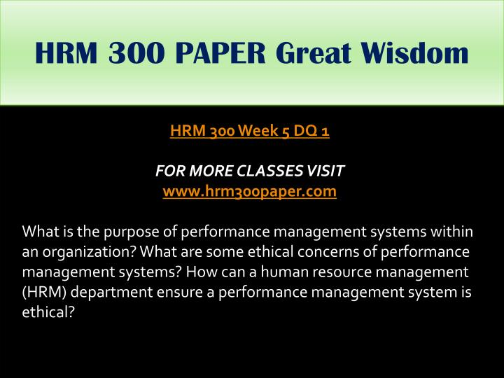 HRM 300 PAPER Great Wisdom