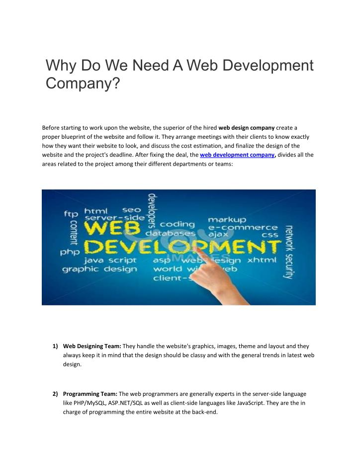 Why Do We Need A Web Development