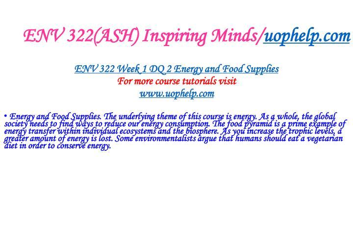 ENV 322(ASH) Inspiring Minds/