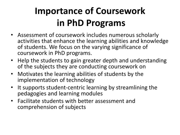Importance of coursework in phd programs