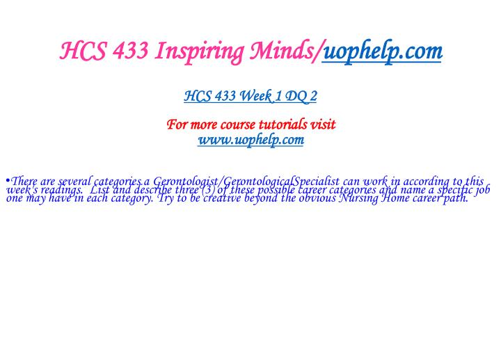 HCS 433 Inspiring Minds/
