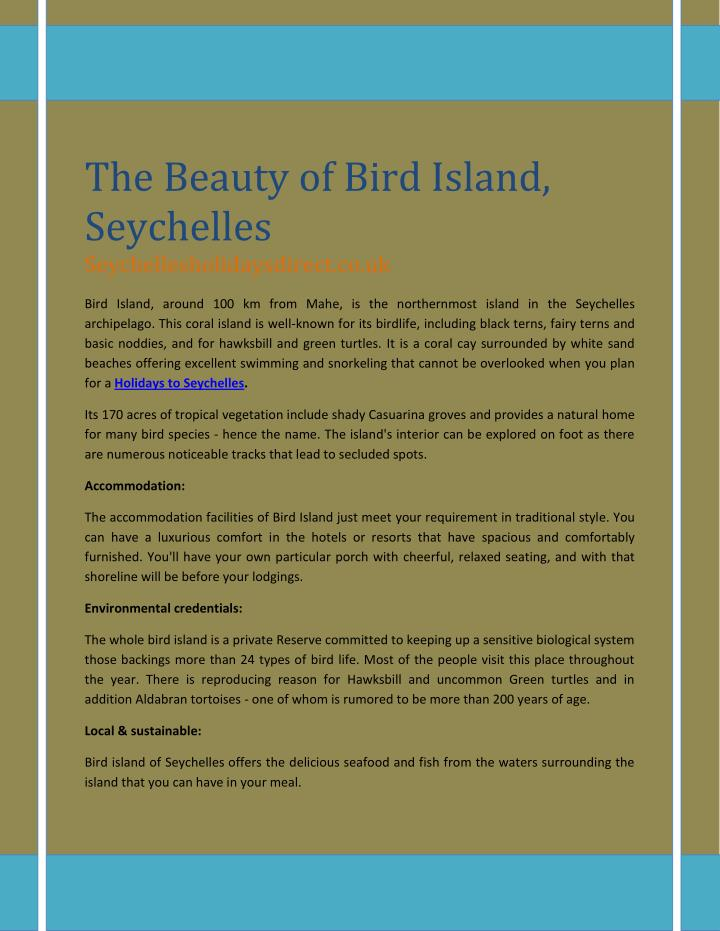 The Beauty of Bird Island,