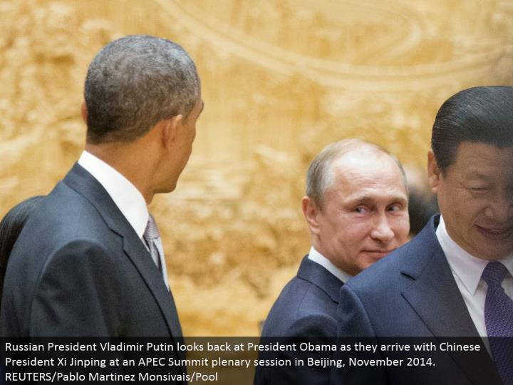 Russian President Vladimir Putin glances back at President Obama as they land with Chinese President...