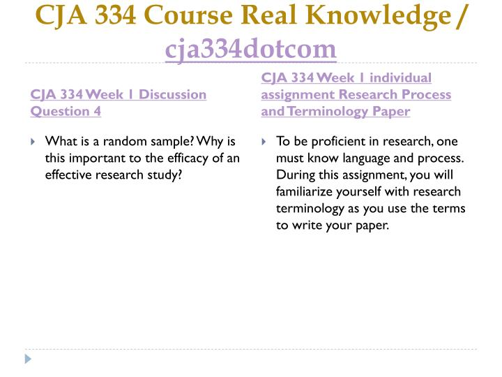 Cja 334 Research Process And Terminology Paper