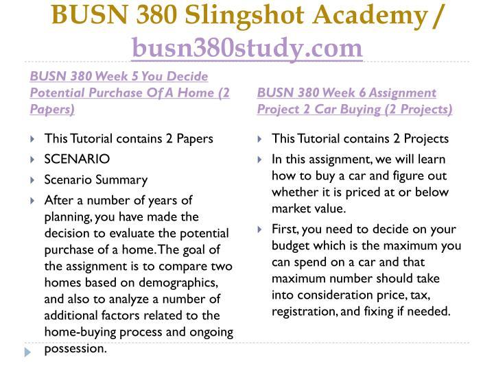 BUSN 380 Slingshot Academy /