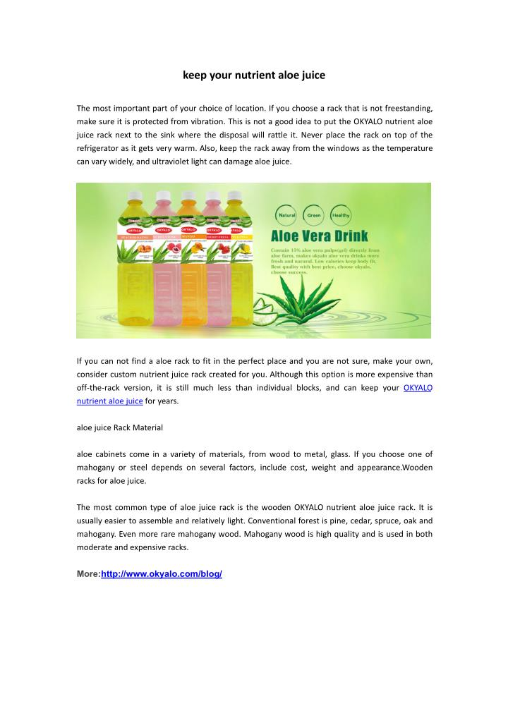 Keep your nutrient aloe juice